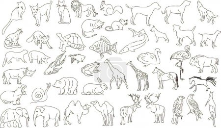 Illustration for Set of vector animals, rough outlines - Royalty Free Image