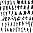 Lots of silhouettes of dancing . Vector...