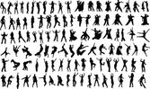 Lots of silhouettes of dancing  Vector