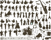 Vector silhouettes of musicians music instruments and symbols