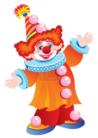 Illustration for The cheerful clown in a cap and a yellow suit - Royalty Free Image
