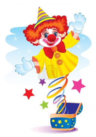 Illustration for The clown jumps out on a spring from a box - Royalty Free Image