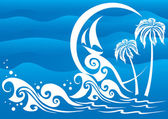 The dark blue sea