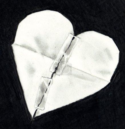 Photo pour Ce dessin au crayon dépeint un coeur de papier déchiré, mandé et maintenues ensemble par des bandes. - image libre de droit