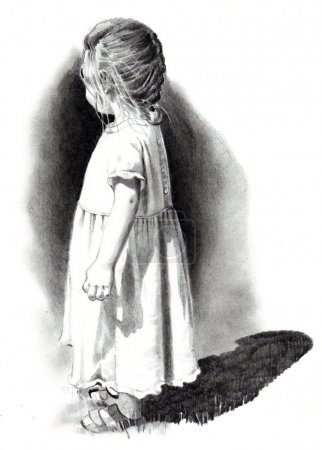 Photo for A freehand, realism drawing of a little girl in a dress, standing in strong sunlight, looking away from the viewer. - Royalty Free Image