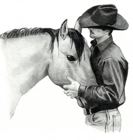 Photo pour Un crayon de dessin d'un cow-boy berçant d'une tête de cheval. - image libre de droit