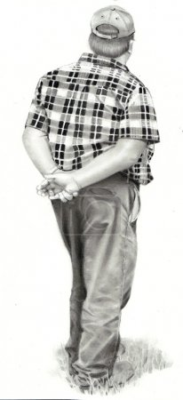 A pencil drawing of a man dressed in farm clothes ...