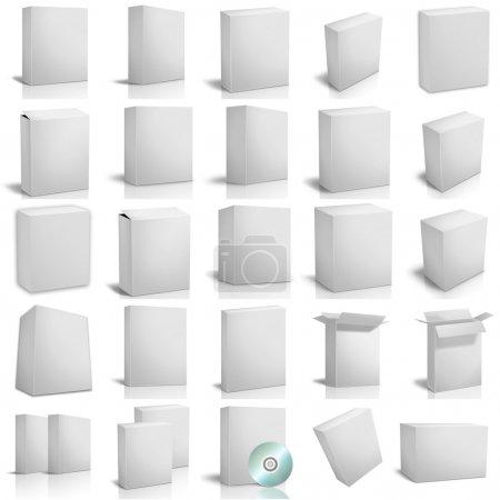 3D-Renderboxen auf weißem Hintergrund
