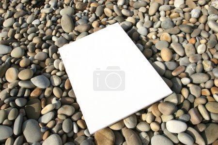 Photo for White card isolated at the beach - Royalty Free Image