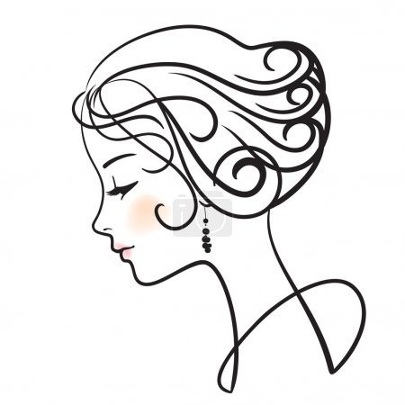 Illustration pour Illustration vectorielle de belle femme visage - image libre de droit