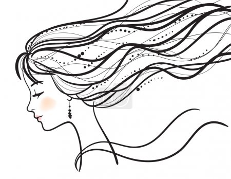 Illustration for Beautiful woman face vector illustration - Royalty Free Image