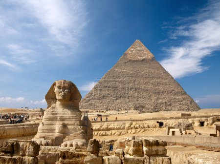 Sphinx and the Great pyramid in Egypt, Giza...