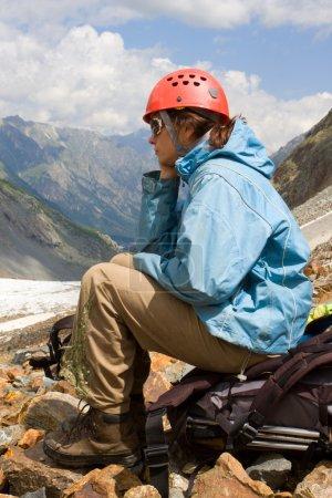 Mountaineer girl in helmet