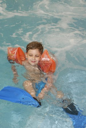 Little boy with flippers