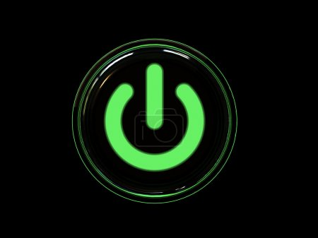 Photo for Green power button isolated on black background. High resolution 3D image. - Royalty Free Image