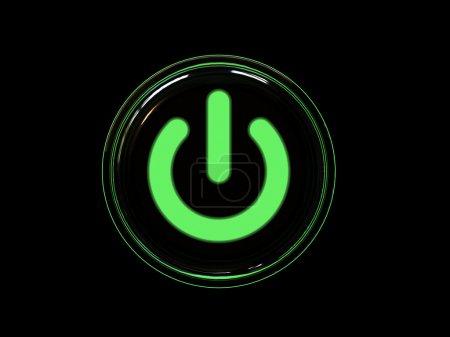 Photo pour Bouton d'alimentation vert isolé sur fond noir. image 3d . - image libre de droit