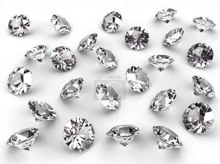 Photo for Several diamonds with realistic soft shadows on white. High resolution 3D image - Royalty Free Image