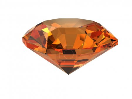 Dark-orange gemstone isolated on white