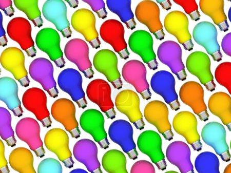 Photo pour Ampoules diagonales fond de couleurs arc-en-ciel isolées sur blanc. Image 3D haute résolution - image libre de droit