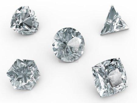 Various diamonds on white