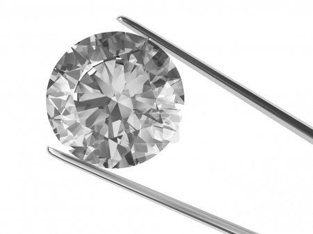 Diamond held in tweezers