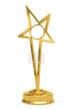 Golden star prize on pedestal