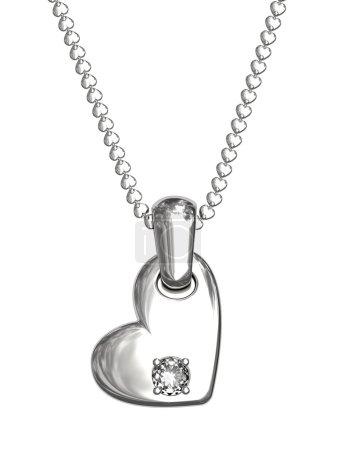 Foto de Colgante de plata o platino en forma de corazón con el diamante en cadena aislado en blanco. imagen 3d de alta resolución - Imagen libre de derechos