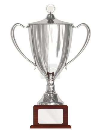 Silver trophy cup on wood pedestal