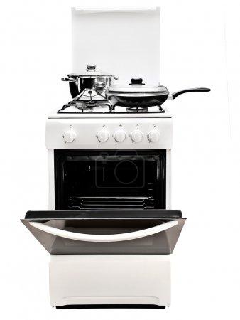 Photo pour Poêle à frire et pot à la gazinière blanc sur fond blanc - image libre de droit