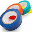 Photo of some multicolored insulating tapes agains...