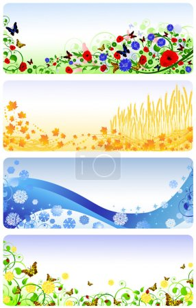 Illustration for Illustration of four seasons banners. Summer, autumn, winter and spring - Royalty Free Image