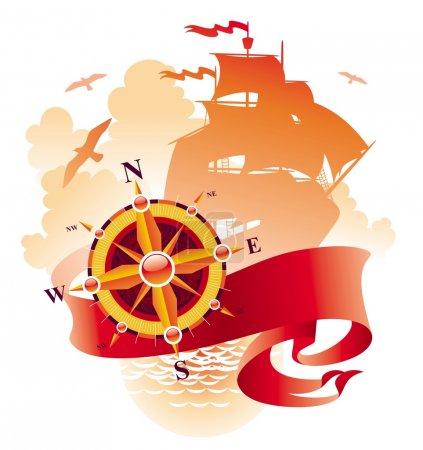 Illustration pour Design Adventures avec rose des vents, bannière et silhouette du voilier . - image libre de droit