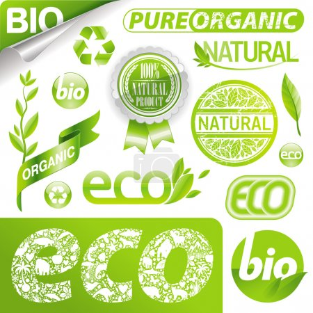 Illustration for Vector collection of eco signs, labels and emblems. - Royalty Free Image