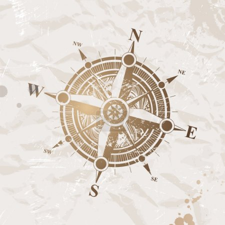 Illustration for Vector vintage paper with ancient compass rose. - Royalty Free Image