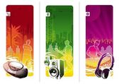 Three musical vector banners