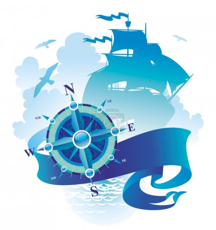 Illustration for Vector illustration: Compass rose, banner and sailing vessel. - Royalty Free Image