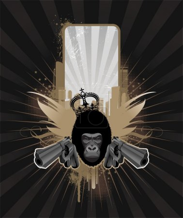 Frame with guns and gorilla head