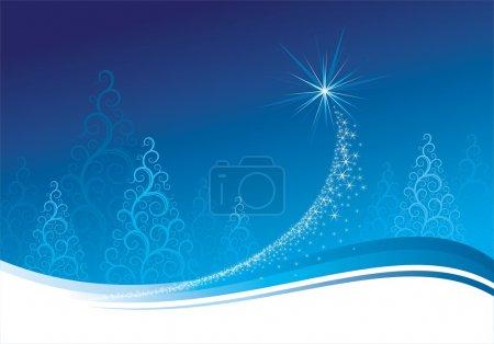 Blue christmas background, vector illustration