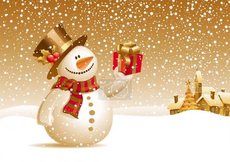 Illustration for Snowman with gift for you - Royalty Free Image