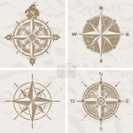 Illustration for Vintage compass roses - Royalty Free Image