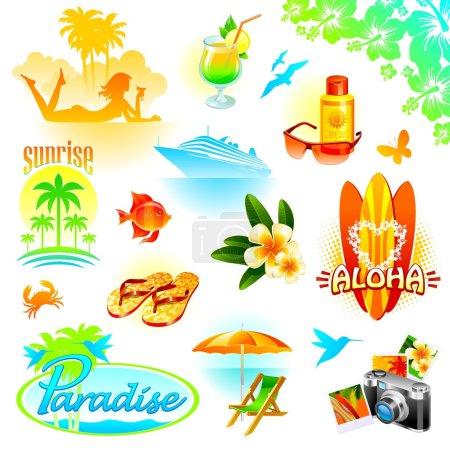 tropicales vacances vecteur ensemble