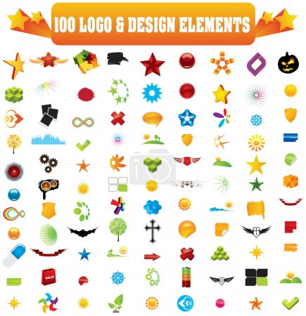 Illustration for Vector logo & design elements, 100 pieces for your site - Royalty Free Image
