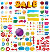 Collection of 100+ brightly colored glossy elements for your business artwork
