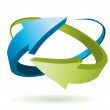 Blue and green 3d vector arrows...