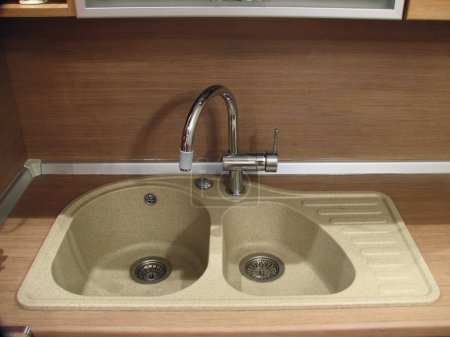 Granite sink with mixer