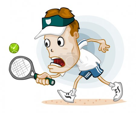 Illustration for Tennis Match. Detailed vector illustration in isolated in white. - Royalty Free Image
