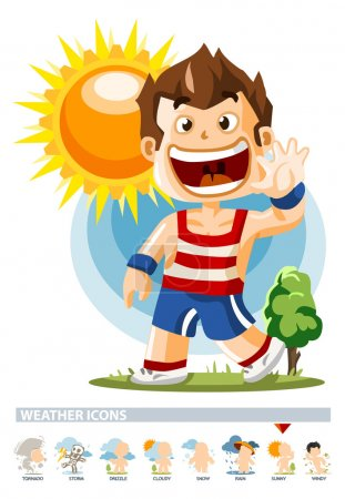 Illustration for Sunny. Weather Icon with illustration in Detailed Vector - Royalty Free Image