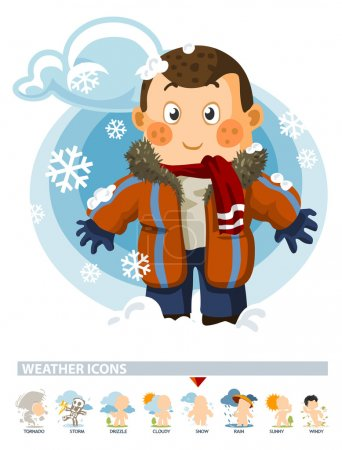 Illustration for Snow on Winter. Weather Icon with illustration in Detailed Vector - Royalty Free Image