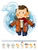 Snow on Winter Weather Icon with illustration in Detailed Vector