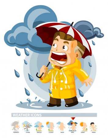Illustration for Rain. Weather Icon with illustration in Detailed Vector - Royalty Free Image